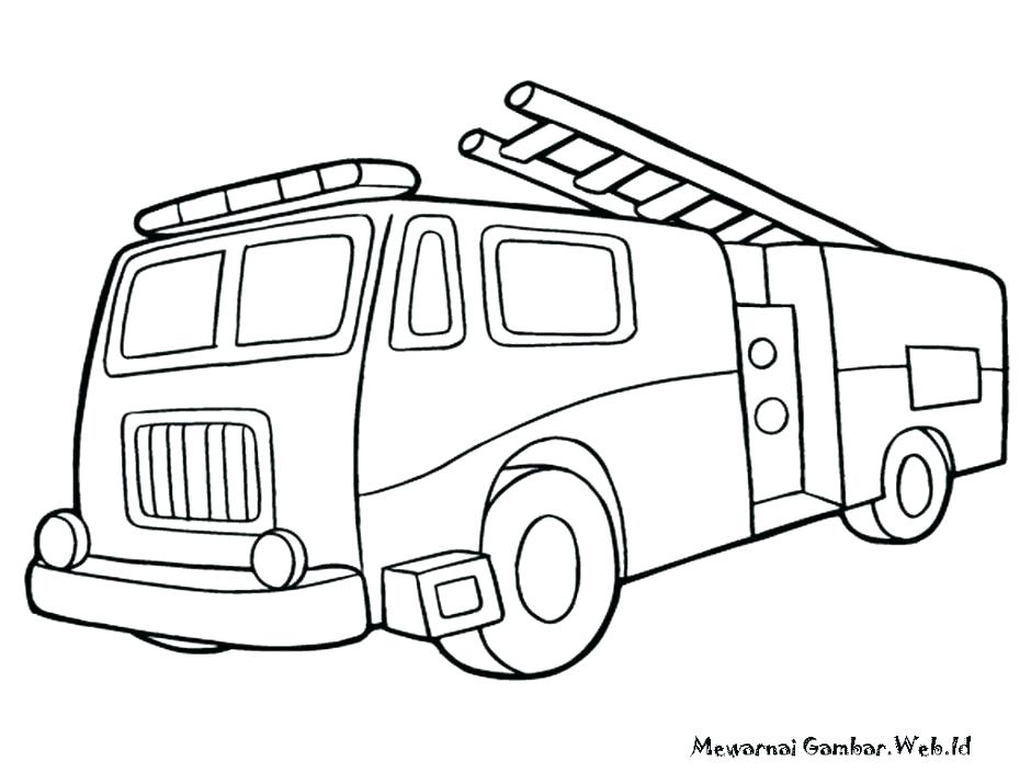 940x705 Fire Trucks Coloring Pages 35 As Well As Truck Outline Fire Truck