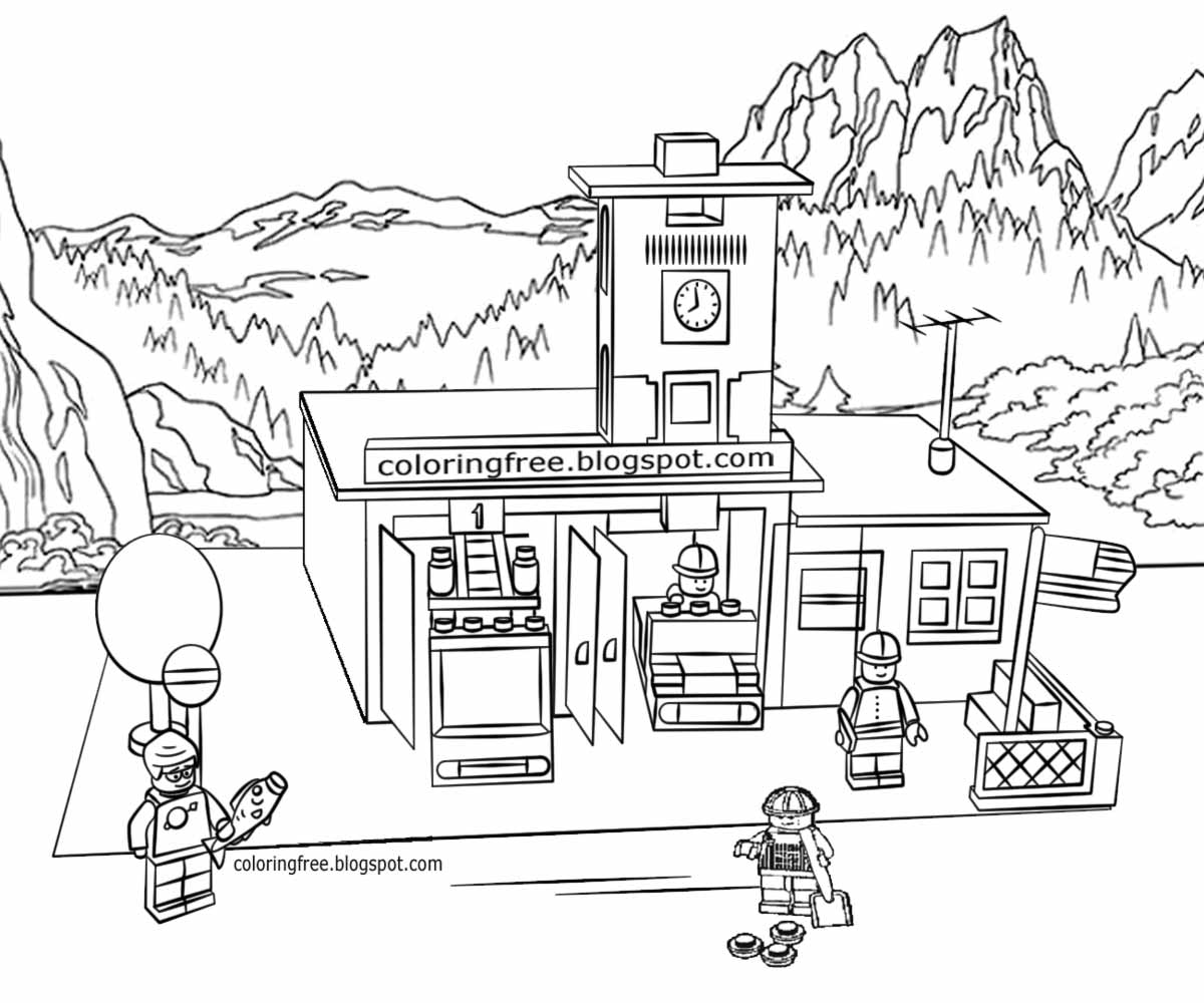 Fire station drawing at free for for Fire station coloring page