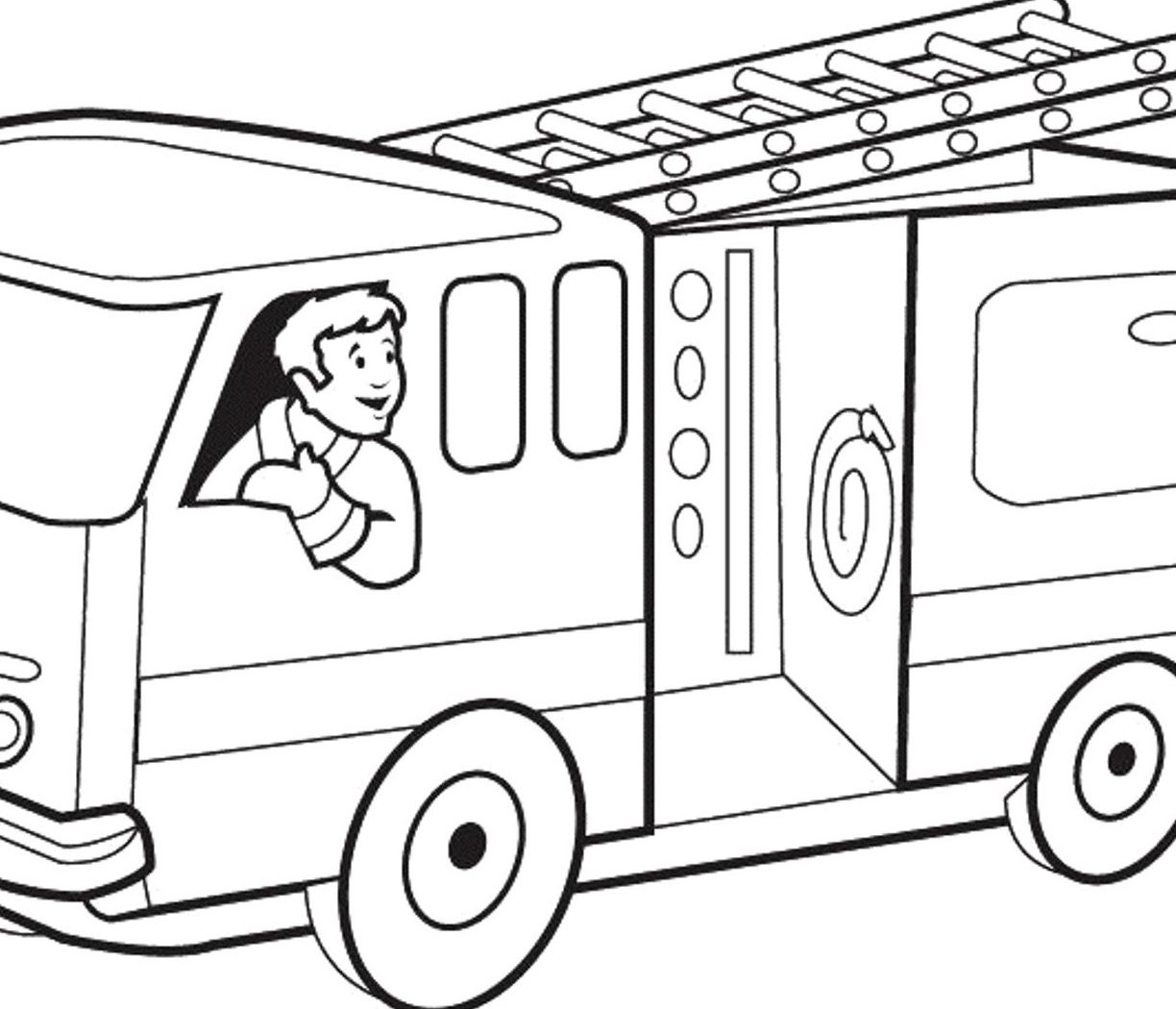 1224x1050 Funny Fire Truck Coloring Page For Kids Pages Printable General