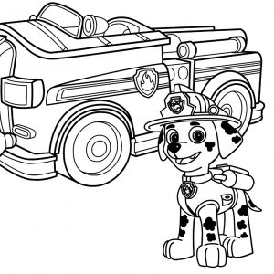 300x300 Coloring Pages Of Trucks New Paw Patrol Marshall With Fire Truck