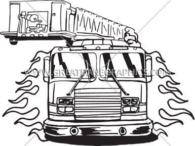 385x289 Fire Truck Flames Production Ready Artwork For T Shirt Printing