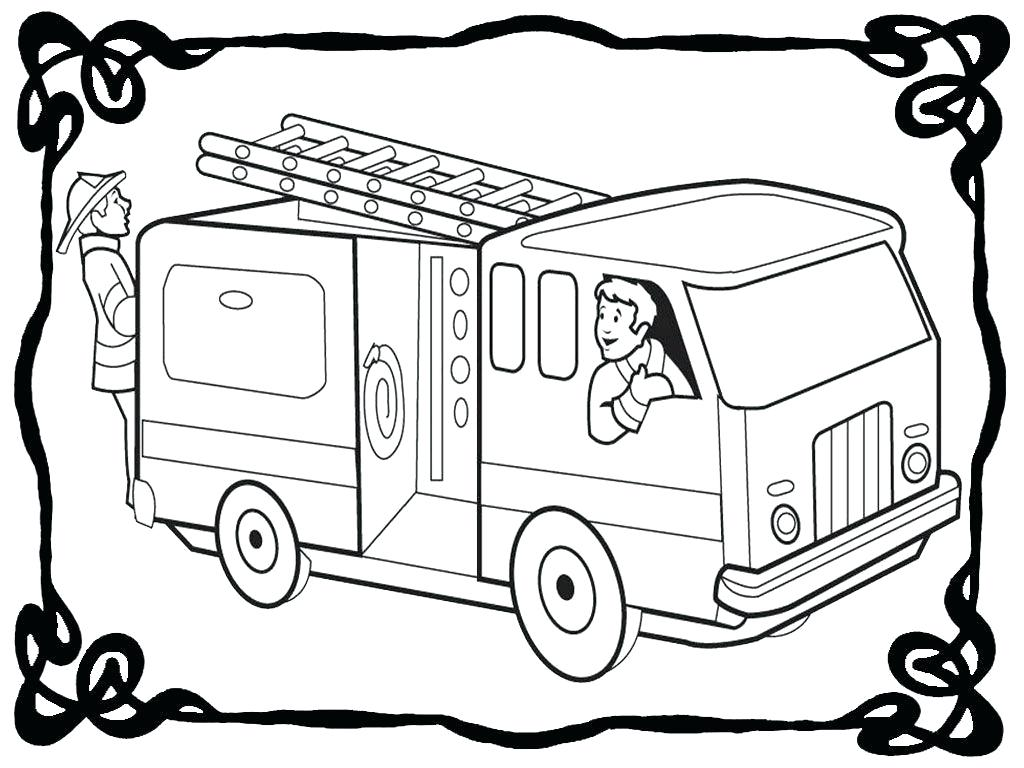 1024x768 Coloring Fire Engine Coloring Page