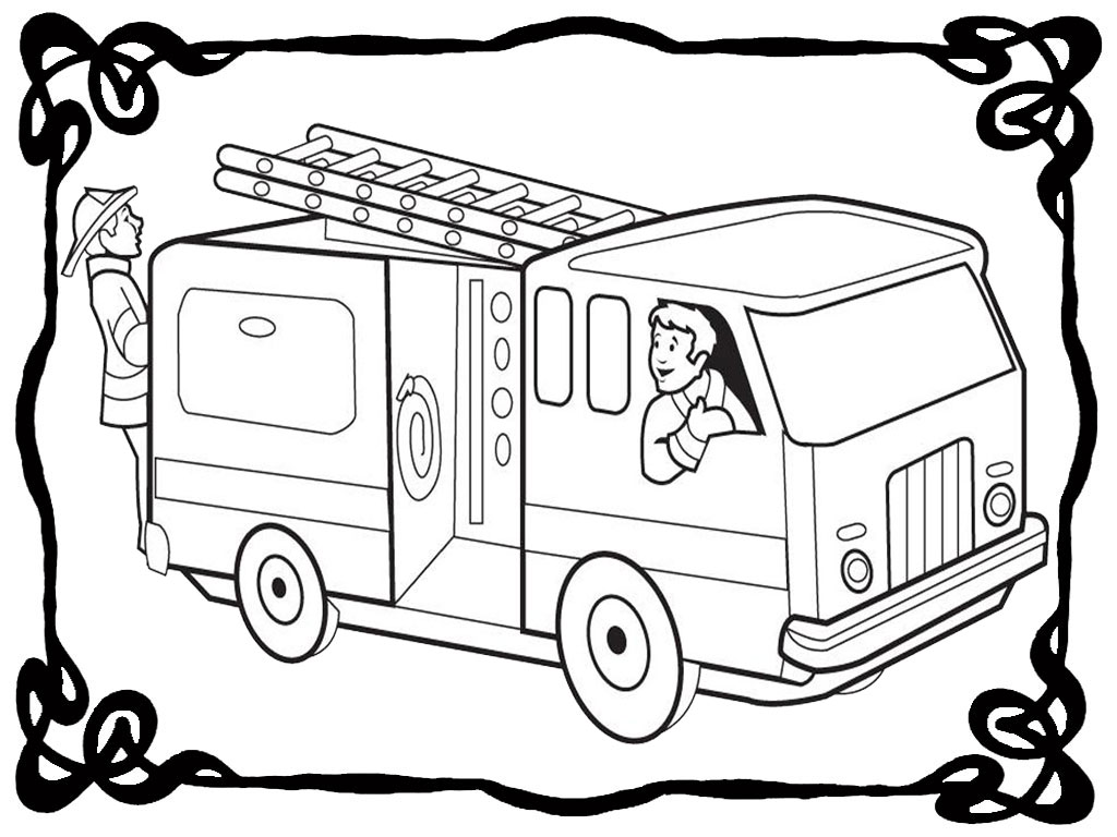 1024x768 Fire Truck Coloring Pages