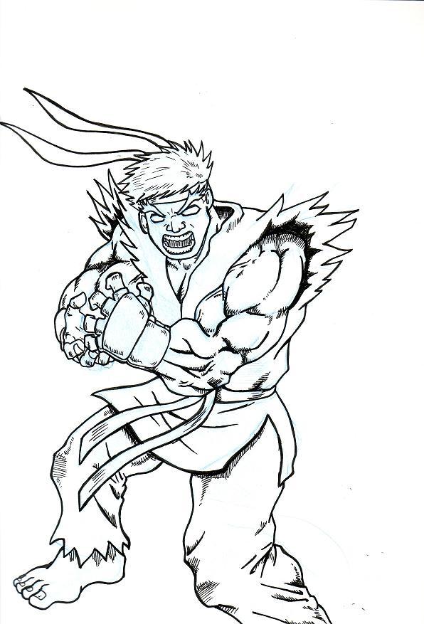 596x877 Ryu Fireball By Evilhayato
