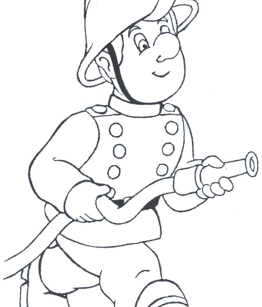 896x1050 Fireman Kids Coloring Pages Or Firefighter Free Adult Sam Online