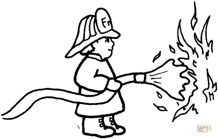 720x458 Fireman Puts Out The Fire Coloring Page Free Printable Coloring