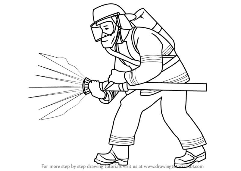800x567 Learn How To Draw A Fireman (Other Occupations) Step By Step