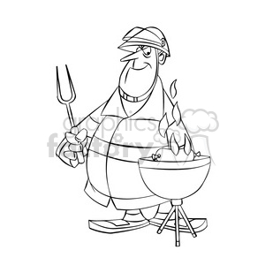 300x300 Royalty Free Frank The Cartoon Firefighter Cooking On A Grill Bbq