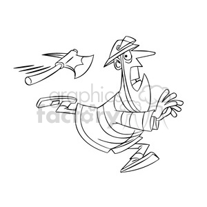 300x300 Royalty Free Frank The Cartoon Firefighter Running From Axe Black
