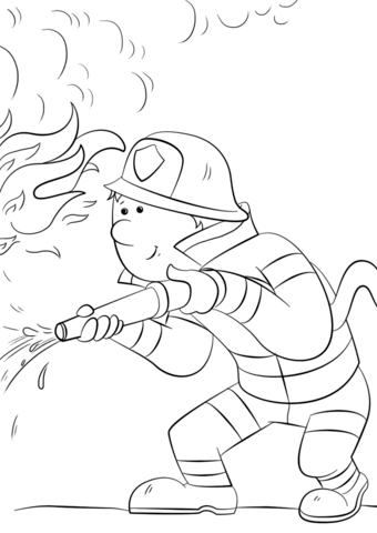 340x480 Cartoon Firefighter Sprays A Fire Hose Coloring Page Free