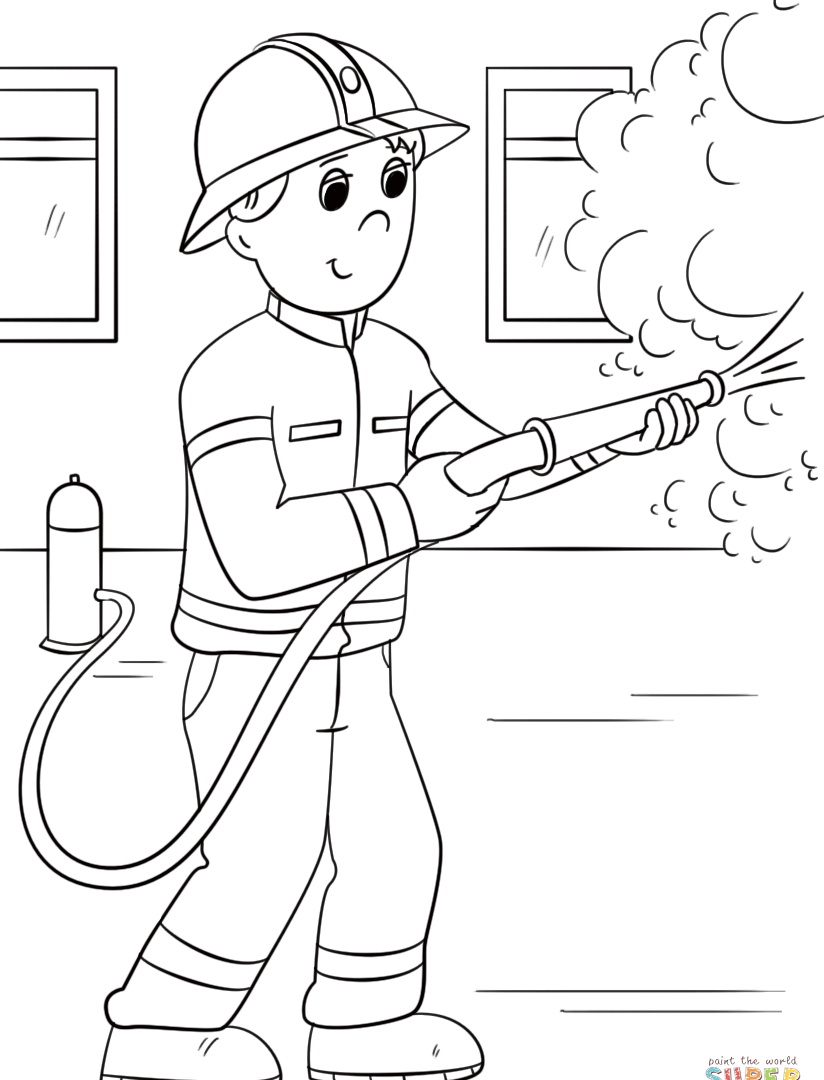 Firefighter Cartoon Drawing at GetDrawings.com | Free for personal ...