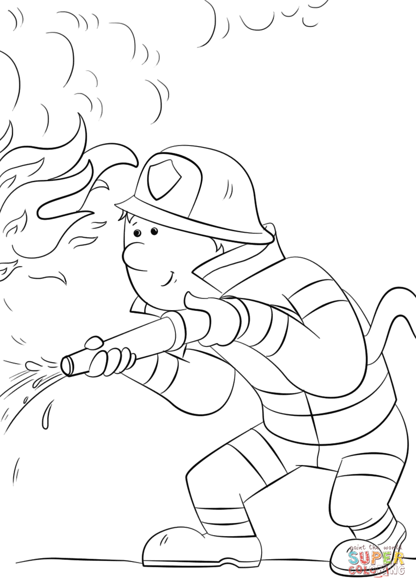 849x1200 Cartoon Firefighter Sprays A Fire Hose Coloring Page Free