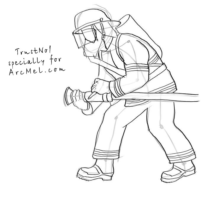 700x668 How To Draw A Fireman Step By Step