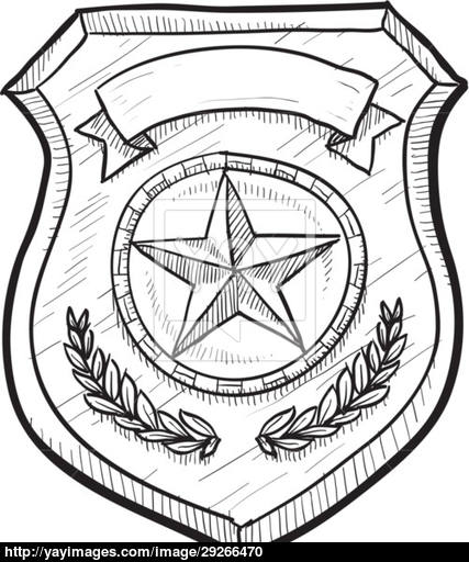427x512 Surprise Police Badge Drawing Of Or Firefighter Sketch Vector