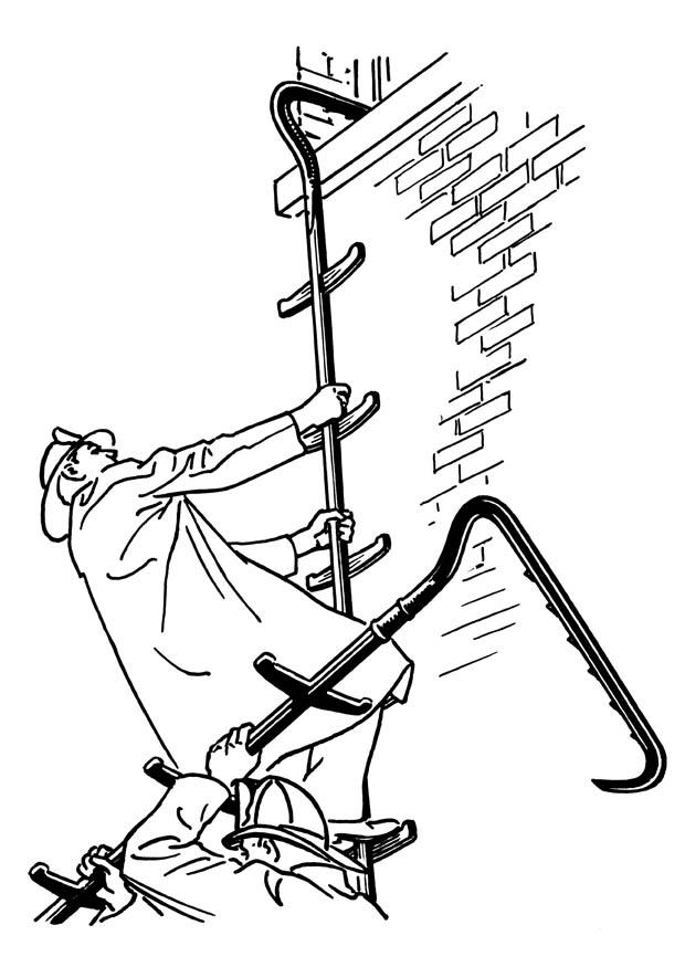 620x875 Coloring Page Firefighter With Ladder