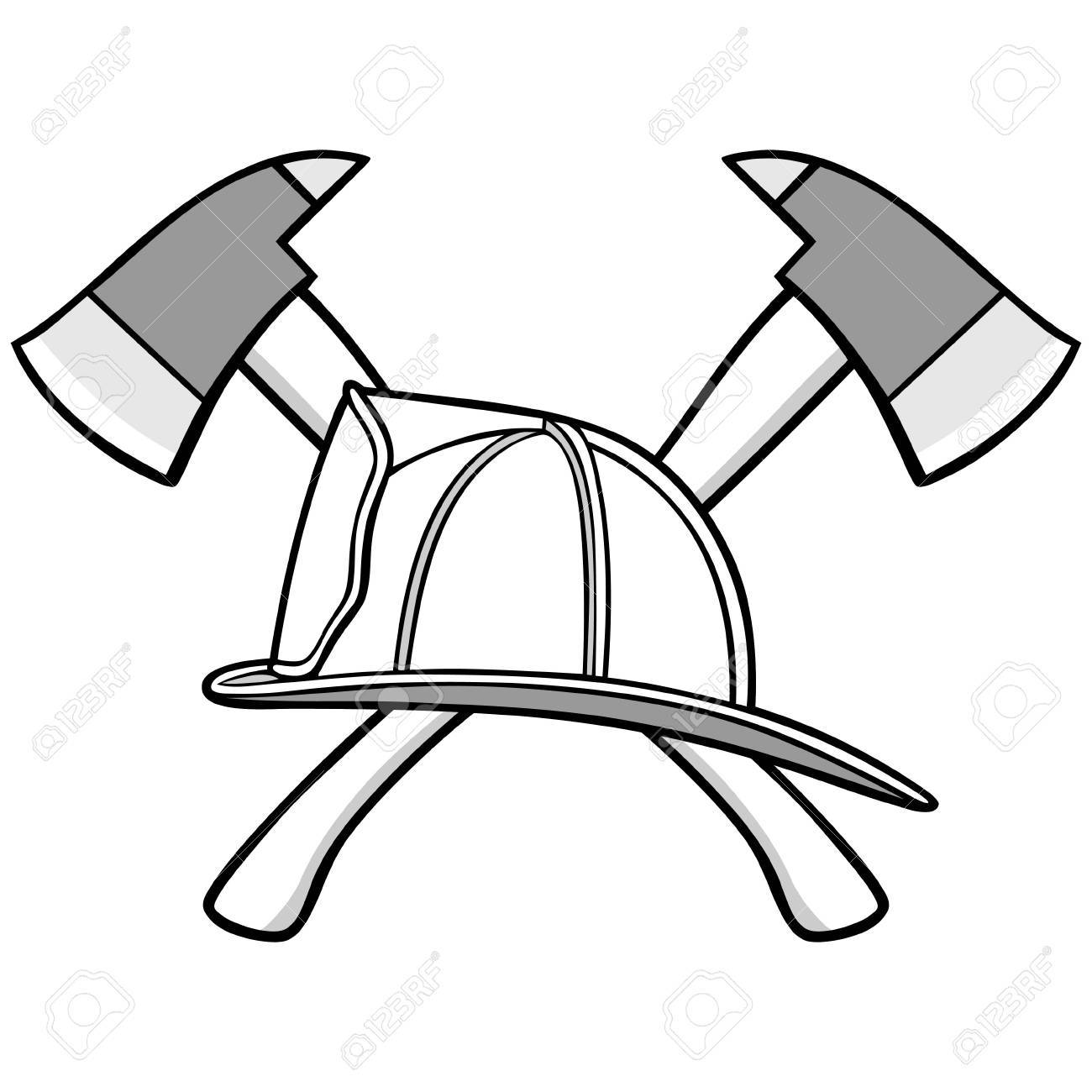 1300x1300 Firefighter Helmet And Axes Illustration Royalty Free Cliparts