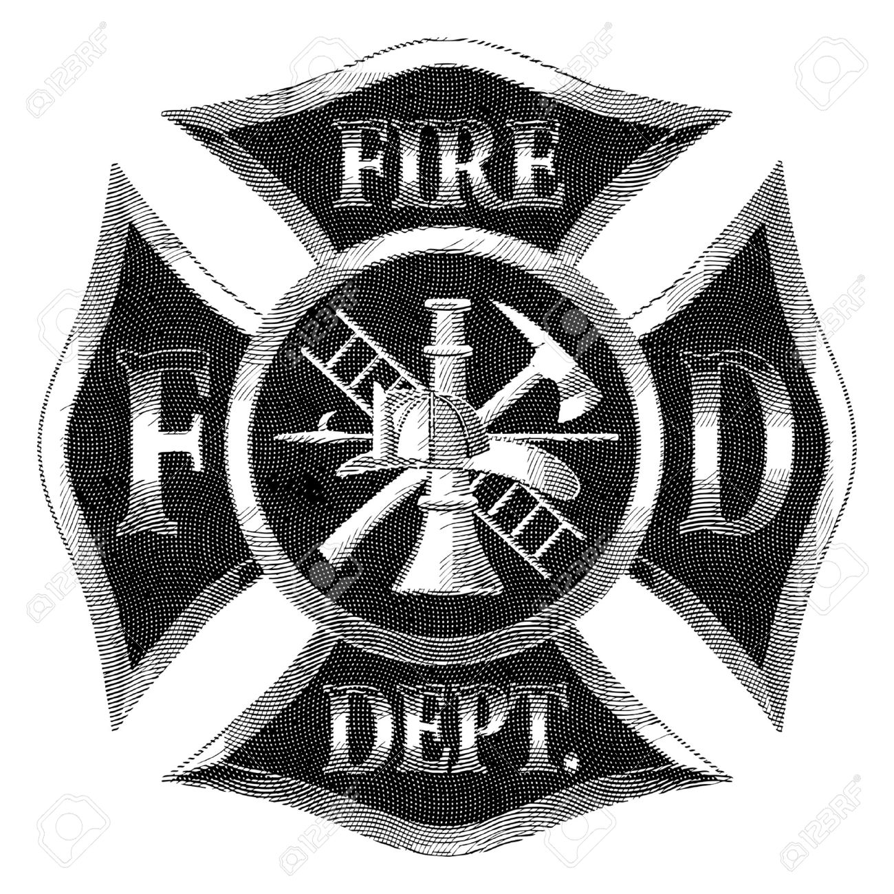 1300x1300 Fire Department Cross Silver Engraving Is An Illustration
