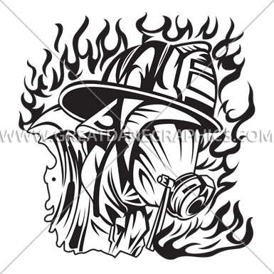 385x385 Fire Fighter And Mask Production Ready Artwork For T Shirt Printing