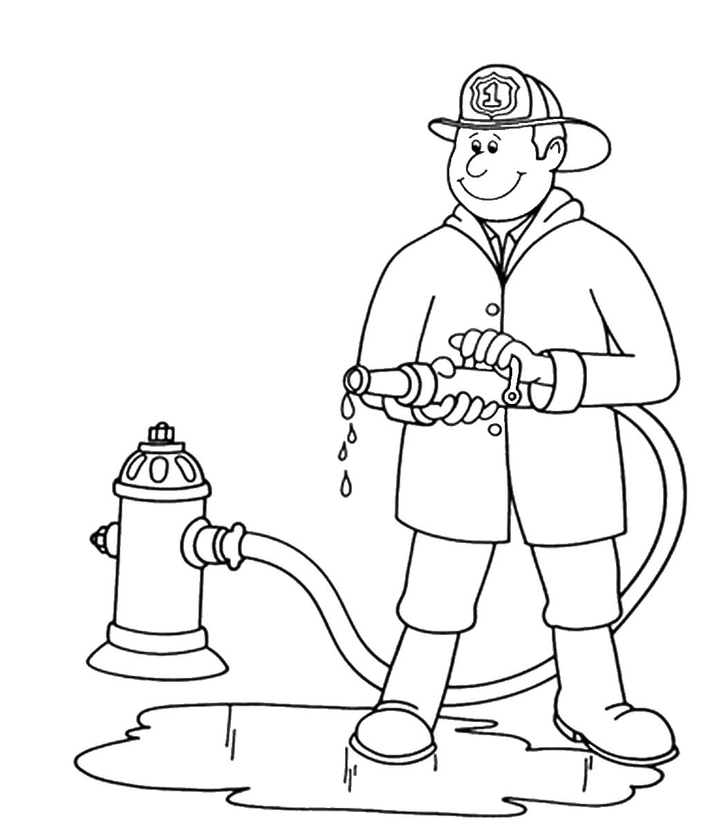 1053x1200 Firefighter Coloring Page Paginone.biz