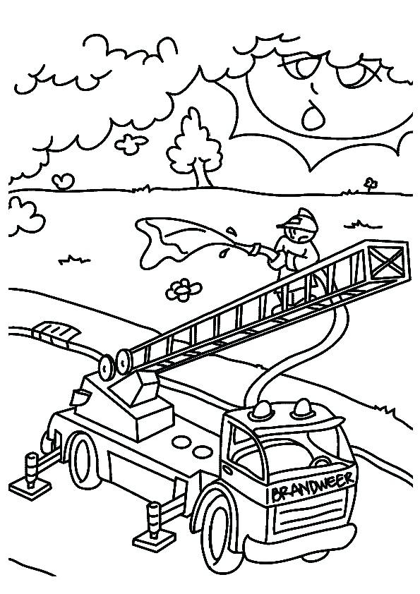 595x842 Firefighter Coloring Page Fire Truck Helping Firefighter Kill
