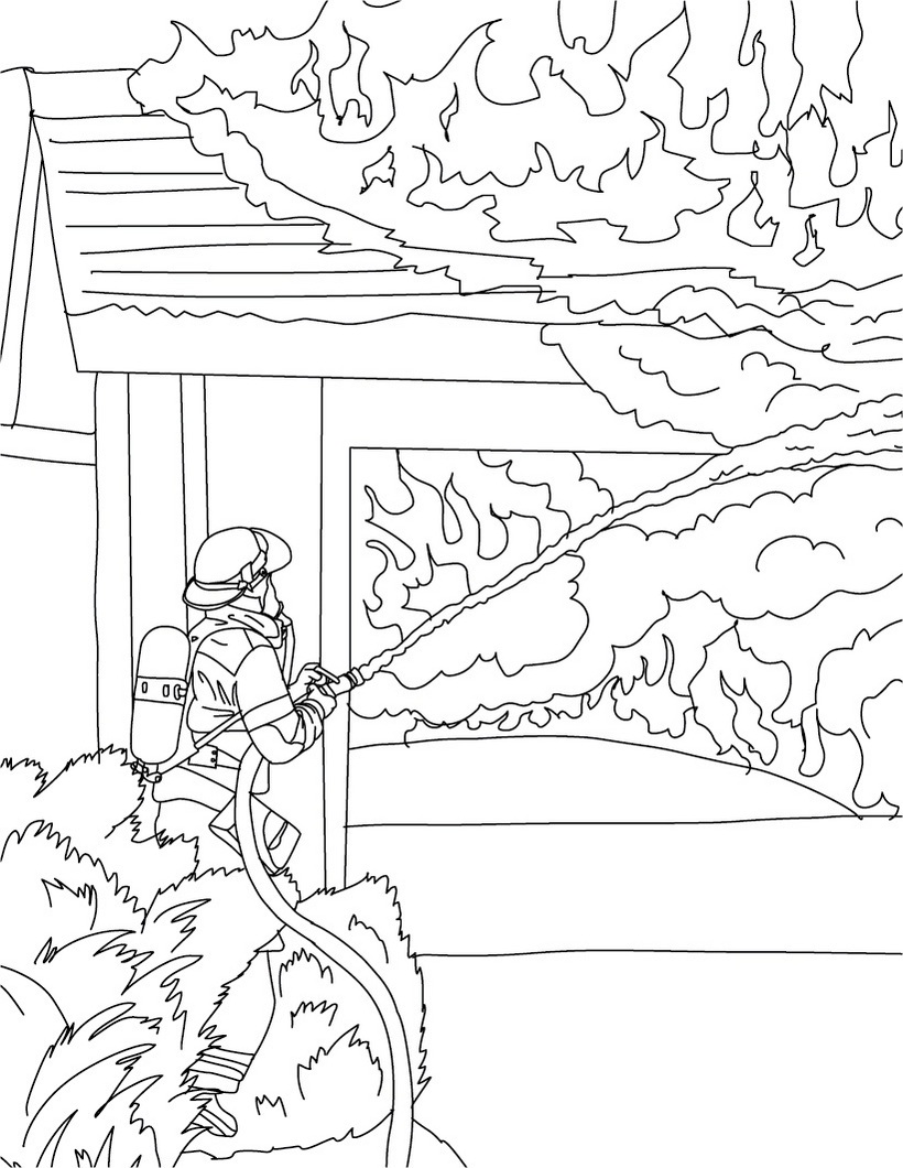 820x1060 Firefighter Coloring Pages Fighting House Fire