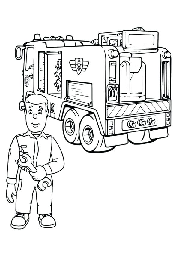 600x841 Fireman Coloring Pages Fireman Checking Fire Truck Engine Coloring