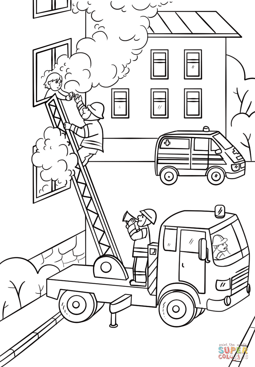 824x1186 Fireman Is Climbing Up The Truck Ladder To Save A Girl Coloring