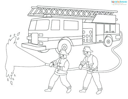 425x328 Firetruck Coloring Pages Fire Fighters With Hose Fire Truck