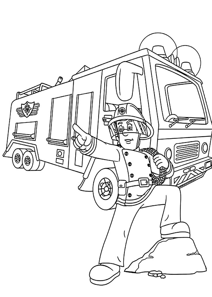 736x1031 Best Firetruck Coloring Page Ideas On Firefighter