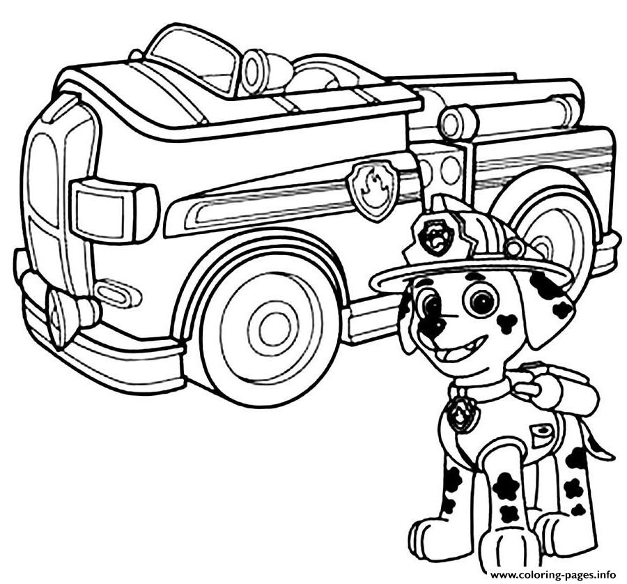 900x838 Print Paw Patrol Marshal Firefighter Truck Coloring Pages Stuff