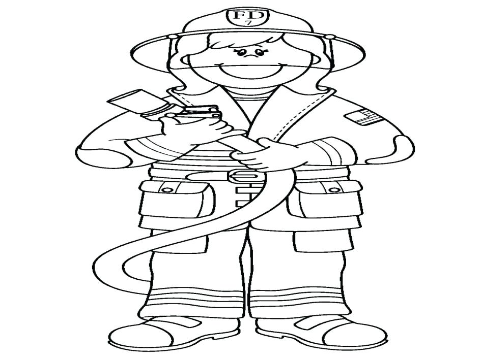 945x709 Fireman Coloring Page Fireman And His Equipment Coloring Pages