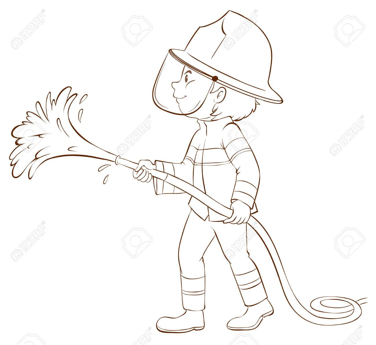 1300x1195 Illustration Of A Plain Sketch Of A Fireman Holding A Hose