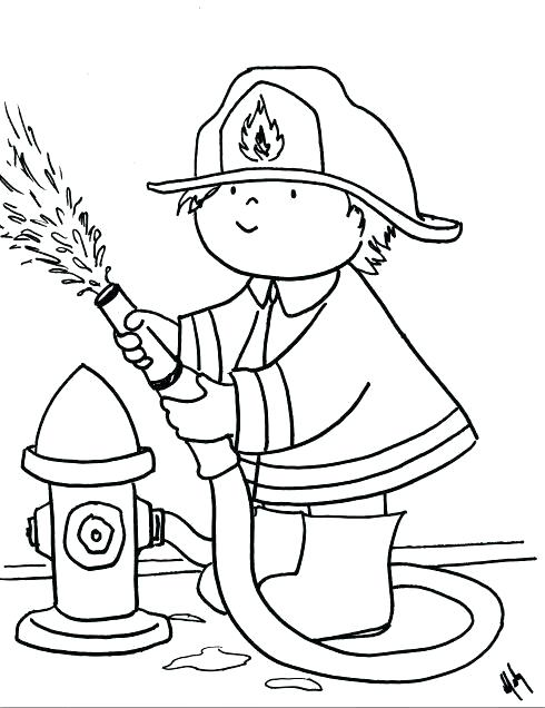 490x636 Firefighter Hat Coloring Page Cross And Firefighter Axe Coloring