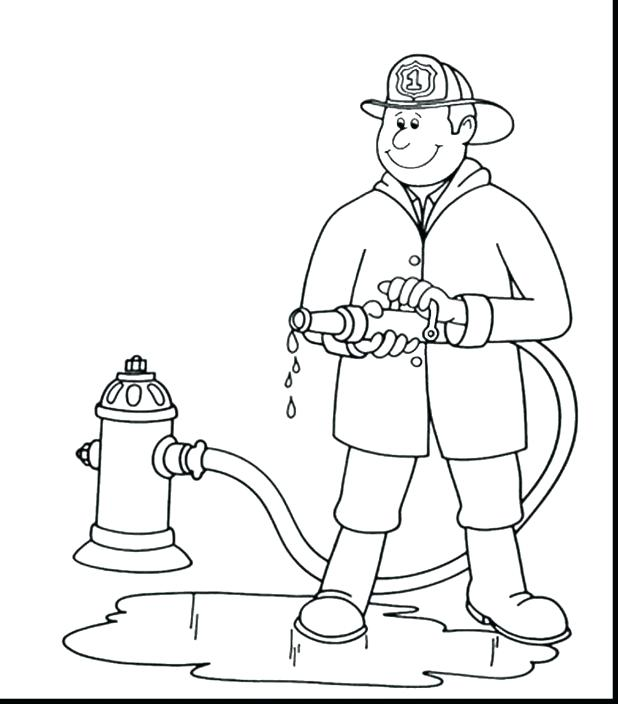 618x704 Classy Fireman Hat Coloring Pages Page Firefighter Download