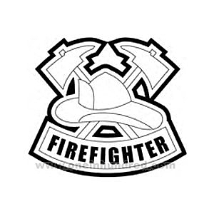 300x300 Firefighter Hat Coloring Page Criss Crossed Fireman Hatchets
