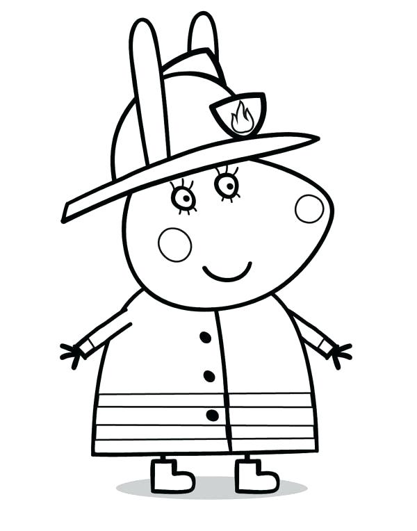 600x764 Cosy Firefighter Hat Coloring Page Fireman Pages On Book Info