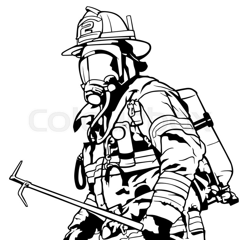 800x785 Fireman With Mask Holding Roof Hook In Hand