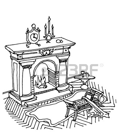 450x450 A Sketch Of The Interior With A Fireplace, Carpet And Stool