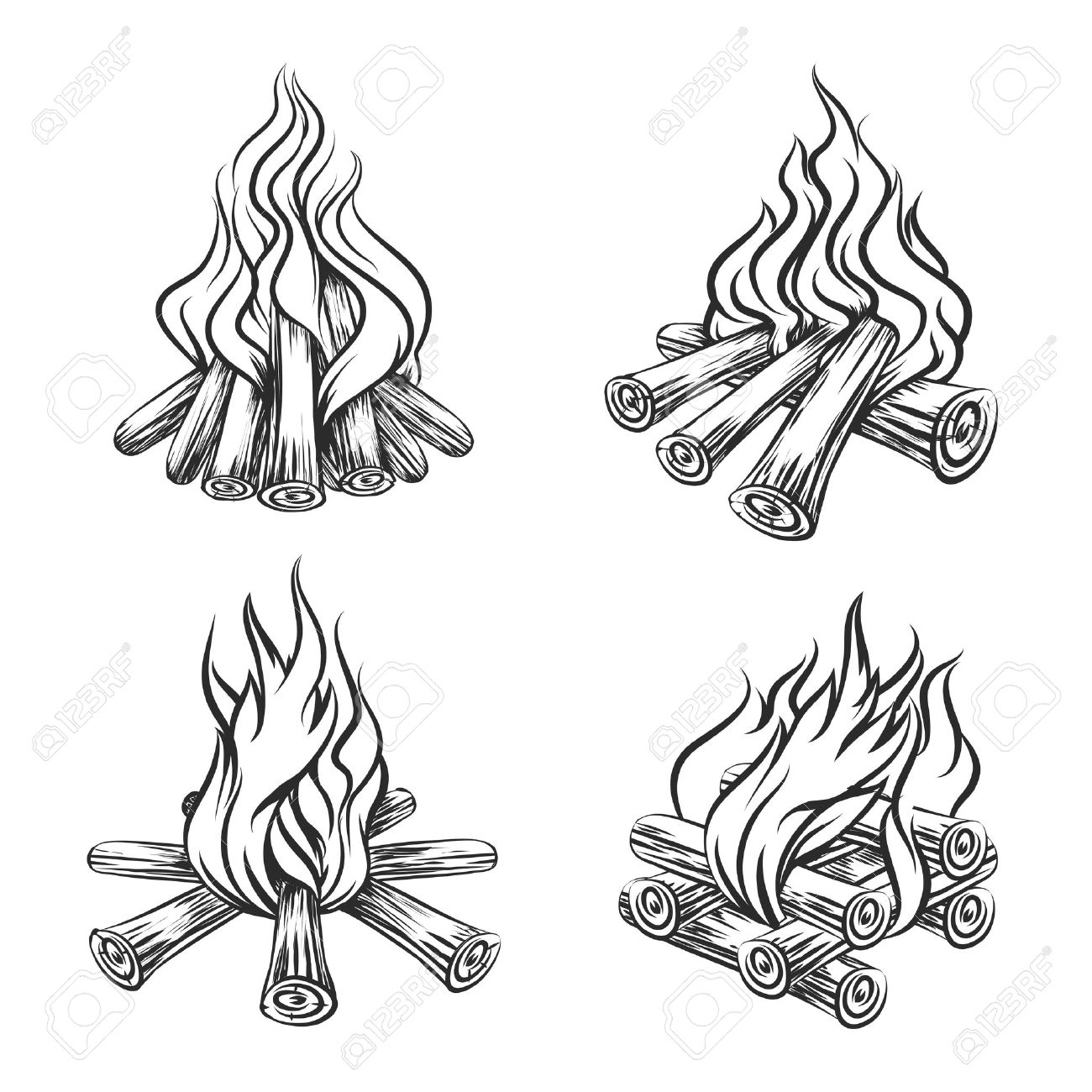 1300x1300 Hand Drawn Vector Bonfire Set. Flame And Burn, Firewood Energy