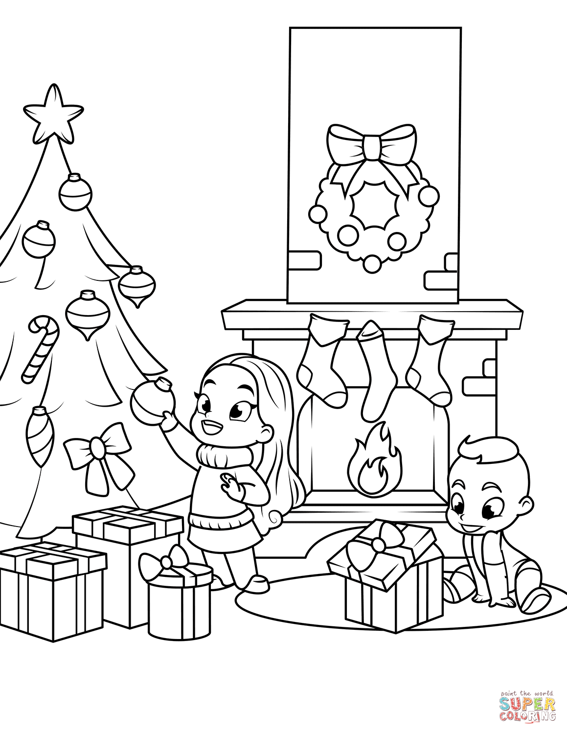 1159x1500 Kids Near The Fireplace And Christmas Tree Coloring Page Free