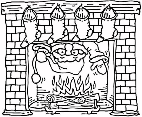 480x397 Santa Coming Out Of The Christmas Fireplace Coloring Page Free