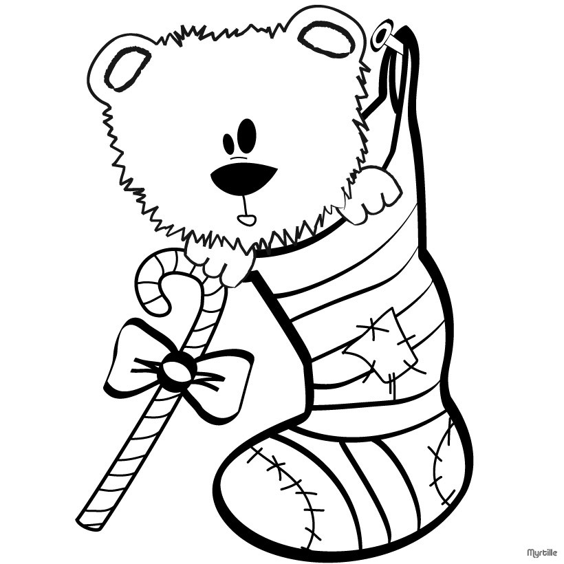 820x820 Teddy Bear And Fireplace Stocking Coloring Pages