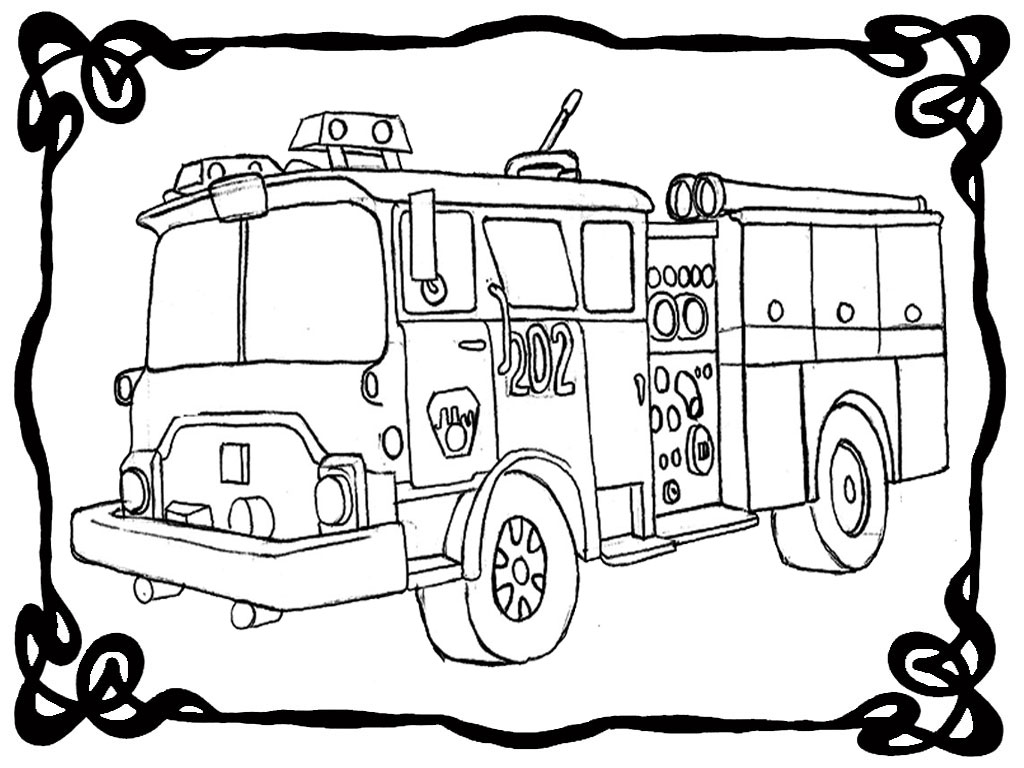 1024x768 Coloring Page Fire Truck. Excellent Fireman Sam Checking Fire