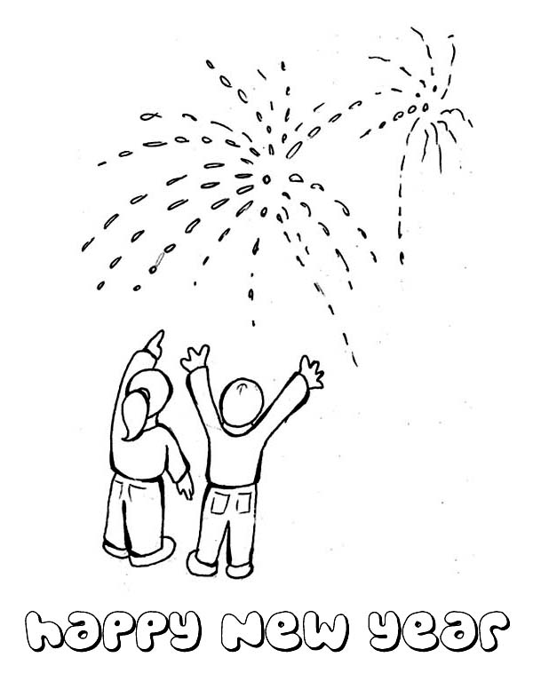 600x776 lovely fireworks on public celebration for 2015 new year coloring