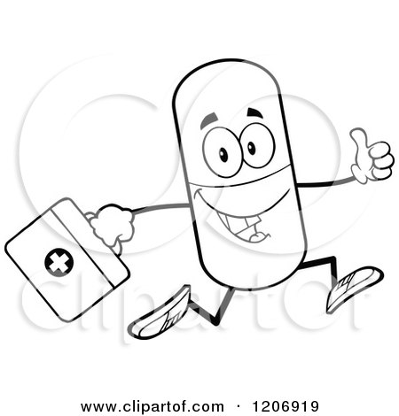 450x470 Cartoon Of A Happy Pill Mascot Running With A First Aid Kit