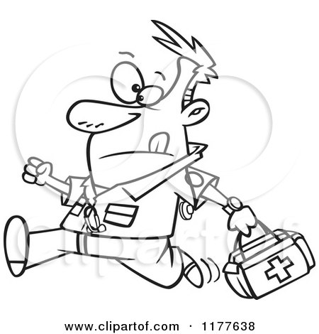 450x470 Cartoon Of An Outlined An Outlined Running Male Emt With A First