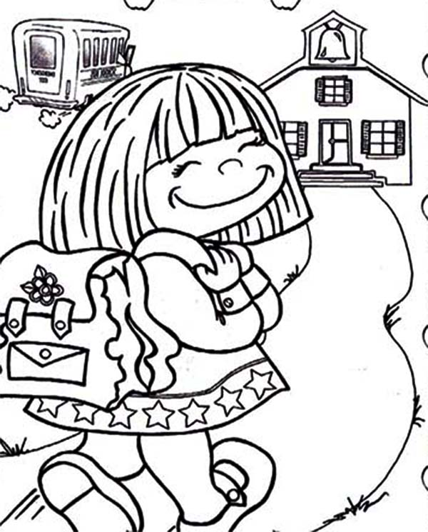 600x745 Cute Little Girl On Her First Day Of School Coloring Page