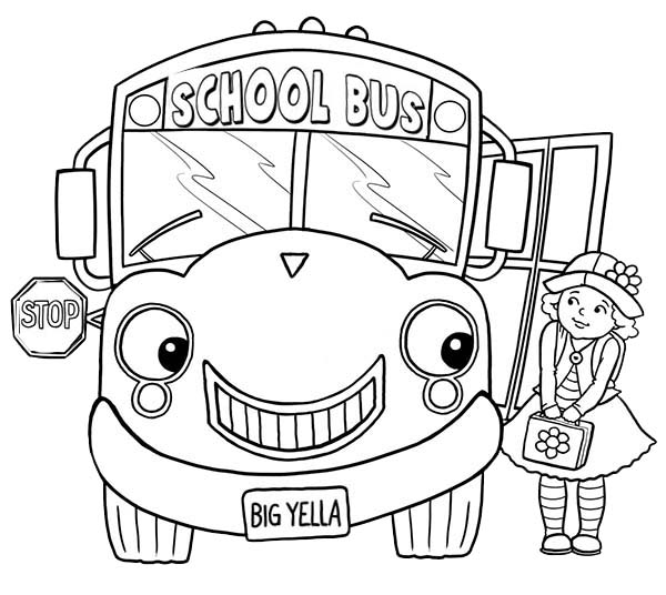 600x536 Little Girl And School Bus On First Day Of School Coloring Page