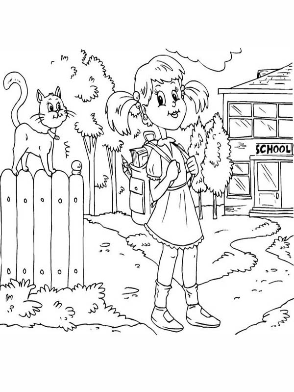 600x799 A Girl Student Waiting For The School Bus On The First Day