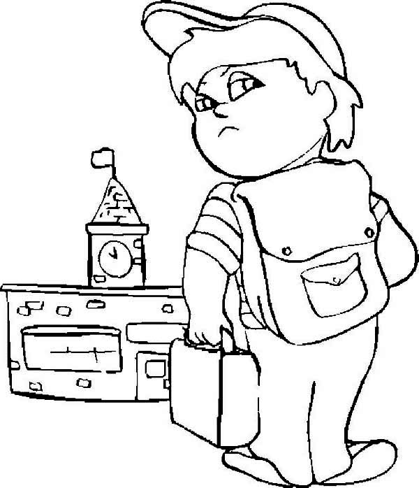 600x698 A Grumpy Boy On His First Day Of School Coloring Page